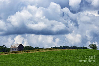 Stormy Sky And Barn Poster by Thomas R Fletcher