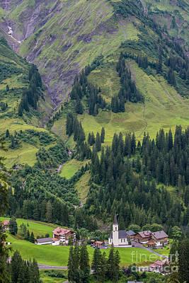 Stormy Mountain Village Of Schrocken - Austrian Alps Poster