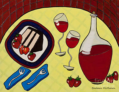 Strawberry Wine Poster by Barbara McMahon