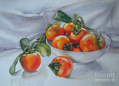 Poster featuring the painting Summer Harvest  1 Persimmon Diospyros by Sandra Phryce-Jones