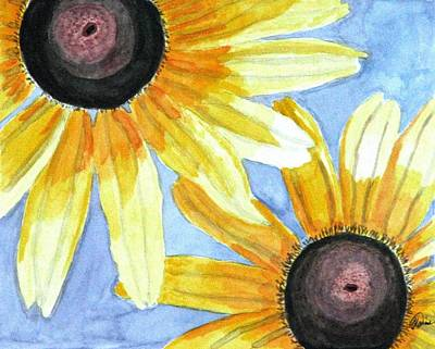 Poster featuring the painting Summer Susans by Angela Davies