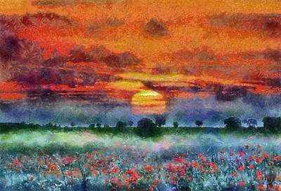 Poster featuring the painting Sunset by Georgi Dimitrov