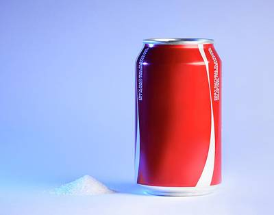 Teaspoon Of Sugar With Can Of Fizzy Drink Poster