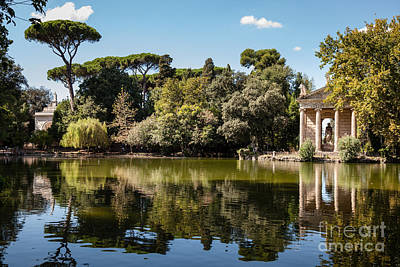 Temple Of Aesculapius And Lake In The Villa Borghese Gardens In  Poster