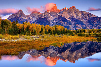 Tetons Reflection Poster by Aaron Whittemore