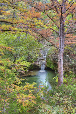 Texas Hill Country Images - Twin Falls In Autumn At Pedernales F Poster
