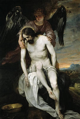 The Dead Christ Supported By An Angel Poster