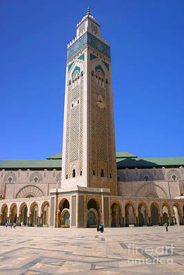 Poster featuring the photograph The Hassan II Mosque Grand Mosque With The Worlds Tallest 210m Minaret Sour Jdid Casablanca Morocco by Ralph A  Ledergerber-Photography