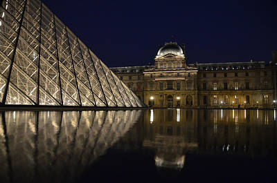 The Louvre Palace And The Pyramid At Night Poster