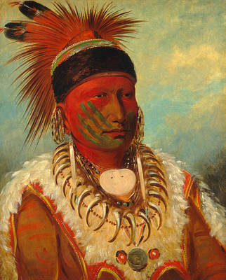The White Cloud. Head Chief Of The Iowas  Poster by George Catlin