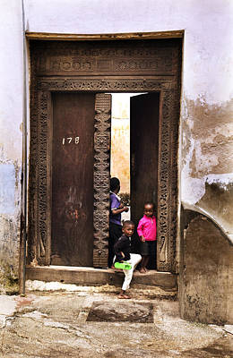Poster featuring the photograph Kids Playing Zanzibar Unguja Doorway by Amyn Nasser