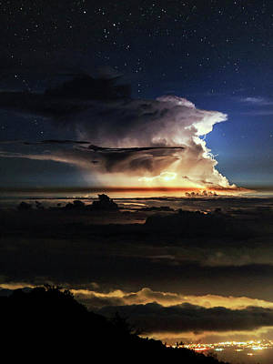 Thunderstorm From Haleakala Poster by Babak Tafreshi
