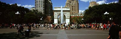 Tourists At A Park, Washington Square Poster by Panoramic Images