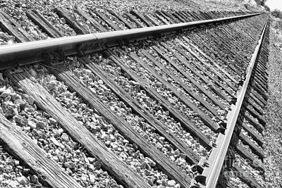 Train Tracks Triangular In Black And White Poster