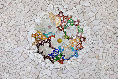 Trencadis Mosaic In Park Guell In Barcelona Poster