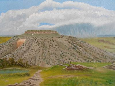 Poster featuring the painting Tucumcari Mountain Reflections On Route 66 by Sheri Keith