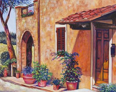 Tuscan Flower Pots Poster by Eve  Wheeler