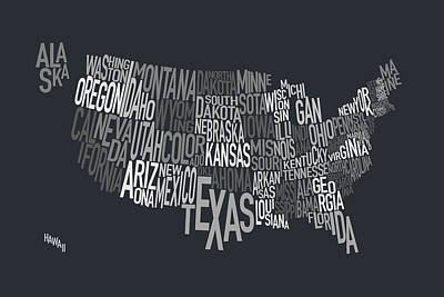United States Text Map Poster