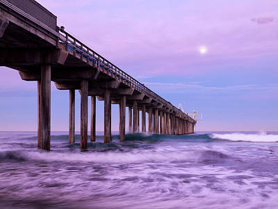 Usa, California, La Jolla, Full Moon Poster by Ann Collins