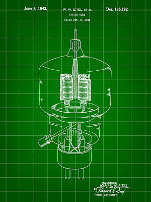 Vacuum Tube Patent 1942 - Green Poster by Stephen Younts