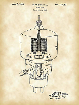 Vacuum Tube Patent 1942 - Vintage Poster by Stephen Younts