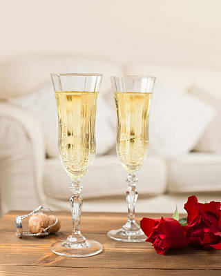 Valentine's Day Champagne Poster by Amanda Elwell