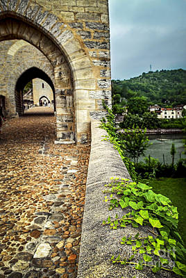 Valentre Bridge In Cahors France Poster by Elena Elisseeva
