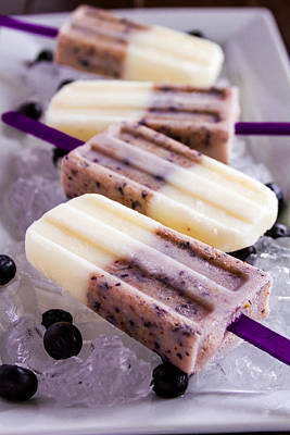 Vanilla And Blueberry Popsicles Poster
