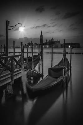 Venice Gondolas In Black And White Poster