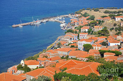 View Of Molyvos Village From The Castle Poster by George Atsametakis