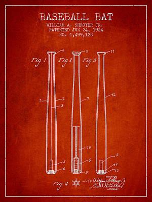 Vintage Baseball Bat Patent From 1924 Poster