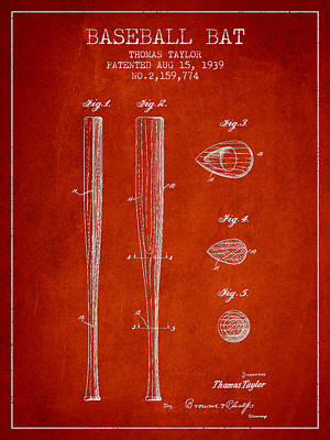 Vintage Baseball Bat Patent From 1939 Poster by Aged Pixel
