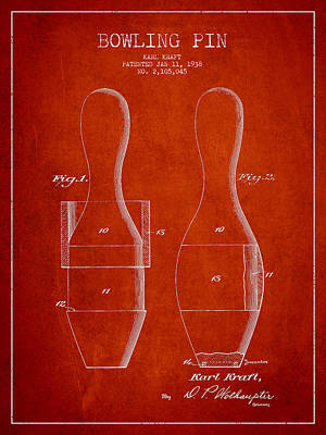 Vintage Bowling Pin Patent Drawing From 1938 Poster by Aged Pixel