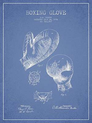 Vintage Boxing Glove Patent Drawing From 1894 Poster