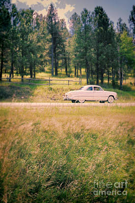 Vintage Car On A Rural Road Poster by Jill Battaglia