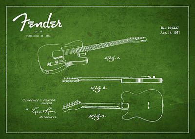Vintage Fender Guitar Patent Drawing From 1951 Poster