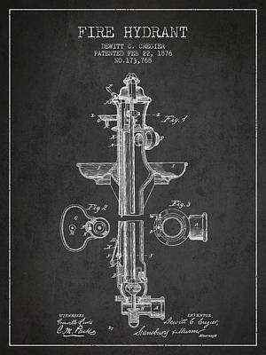 Vintage Fire Hydrant Patent From 1876 Poster by Aged Pixel