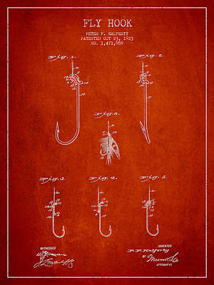 Vintage Fly Hook Patent Drawing From 1923 Poster