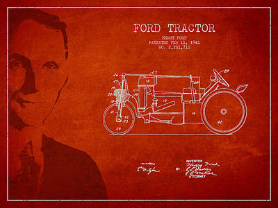 Vintage Ford Tractor Patent Drawing From 1941 Poster
