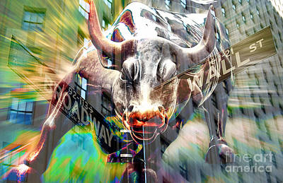 Wall Street Bull Poster by Marvin Blaine