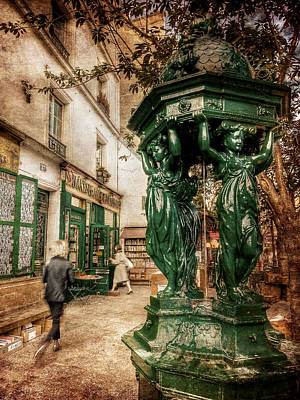 Poster featuring the photograph Wallace Fountain By Shakespeare And Co / Paris by Barry O Carroll