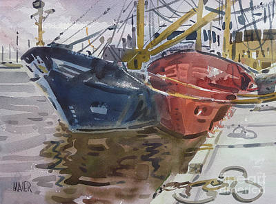 Poster featuring the painting Wexford Fishing Boats by Donald Maier