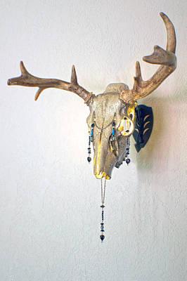 White And Gold White Tail Illuminating Skull Poster