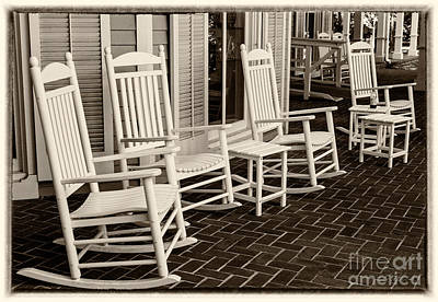White Rockin Chairs Poster by Iris Richardson