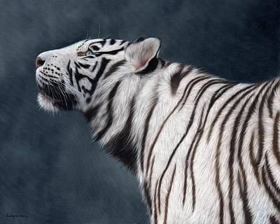 White Tiger Painting Poster
