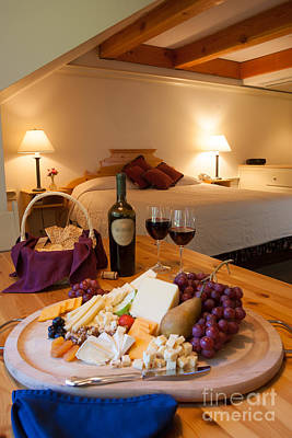 Wine And Cheese In A Luxurious Hotel Room. Poster