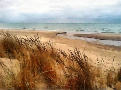 Winter Beach At Pier Cove Ll Poster by Michelle Calkins