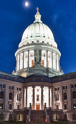 Wisconsin State Capitol Building At Night Poster