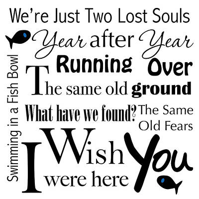 Wish You Were Here Word Art Poster