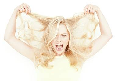 Woman Holding Long Blonde Hair Poster